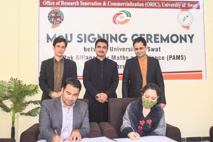 (MoU) was signed between University of Swat and Pakistan Alliance for Maths and Sciences(PAMS)